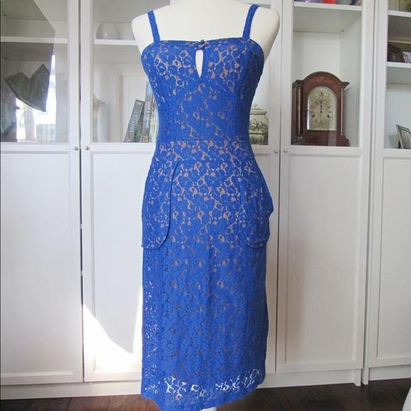 Express Dresses & Skirts - NWT Express Blue and Tan Lace strap Sheath Dress